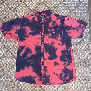 Fourstar Tie Dye Acid Wash Short Sleeve Button Up